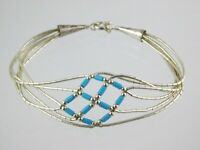 Southwestern Sun Sterling Silver Liquid Silver Turquoise Beaded Bracelet 925
