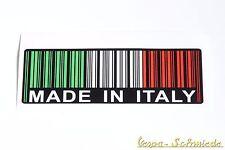 """Adesivo """" MADE IN ITALY """" - Tricolore - ITALIA VESPA DECORAZIONE codice a barre"""