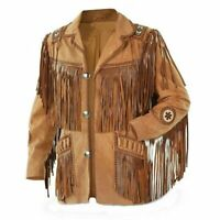 New Men Western Cowboy Real Suede Leather Jacket with Fringes