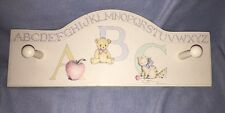 Wooden Baby Nursery Child's Wall Coat Rack MM's Designs Houston TX ABCs Pastels
