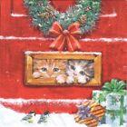 4 Single paper decoupage napkins. Xmas, winter, cats, kitties, post box -X211