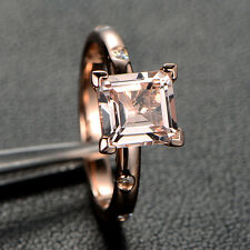 Morganite Engagement Ring with Moissanite,Princess Cut,14K Rose Gold