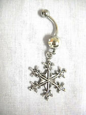 NEW SNOWFLAKE WINTER WONDERLAND CHARM ON 14g DBL CLEAR CZ BELLY BAR NAVEL RING