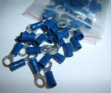 25 Wire Ring Terminals Vinyl Blue 16-14 Gauge AWG Ga Grounding Connectors