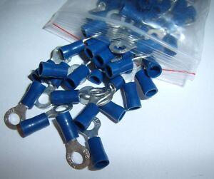 25 Wire Ring Terminals Vinyl Blue 16-14 Gauge AWG Ga Grounding Connectors