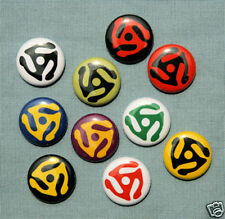 "10 RECORD ADAPTER Buttons Pins Badges 1"" LP 45 Retro"