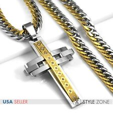 Men's Stainless Steel Large Cross Pendant with 10mm Wide Necklace Punk Heavy P64