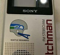 Seattle Seahawks branded Sony Watchman FD-30A portable VHF/UHF TV & AM/FM radio