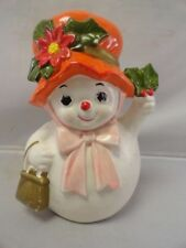 Vintage NAPCOWARE Mrs Snowman Planter Holly Berry Poinsettia