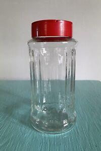 "Vintage Nutra Sweet Glass Sugar Dispenser Shaker 6.5"" Tall Red Lid Retro Promo"
