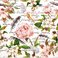 4x Paper Napkins for Decoupage Decopatch Flowers and Feathers