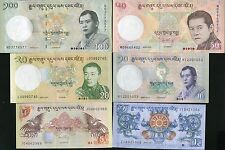 Bhutan - 1,5,10,20,50 and 100 Ngultrum - set of 6 UNC currency notes