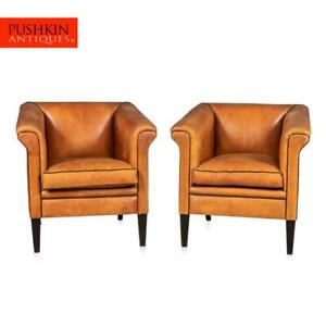LATE 20th CENTURY PAIR OF ART DECO STYLE DUTCH SHEEPSKIN LEATHER CLUB CHAIRS