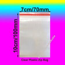 100 x Resealable Plastic Bags Zip Lock Reseal Ziplock Clip 70x100MM/7X10CM Bag