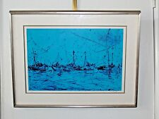 1978 Vtg Pascal Cucaro Signed Numbered Lithograph Masts in Blue Sausalito Ocean