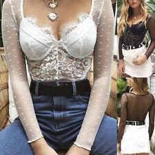 Lady Women Sheer Lace Bodysuit  V Neck Long Sleeve Shirt .Tops Jumpsuit  HDUK