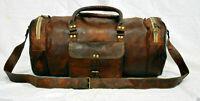 """Men's 30"""" Genuine Vintage Leather Brown Luggage Weekend Duffel Gym Travel Bag"""