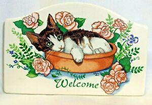 Vintage Garden CAT in a Pot & Rose Flowers WELCOME PLAQUE Ceramic Tile