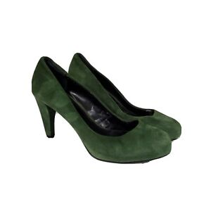 Ann Taylor Loft Green Suede Hidden Platform Pumps Shoes Women's US 7.5