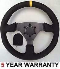 "GENUINE BLACK LEATHER AFTERMARKET PERFORMANCE CAR STEERING WHEEL 13"" INCH  NEW"