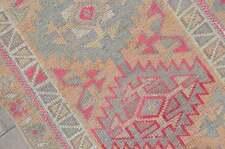 2.5x14.8, TURKISH RUNNER, Vintage Runner, Geometric Neutral Hallway Runner, Pink