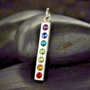 Sterling Silver Chakra Pendant Necklace Made with Swarovski Crystal Rainbow 6058