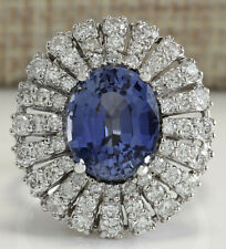 6.76 Carat Natural Ceylon Sapphire 14K White Gold Diamond Ring