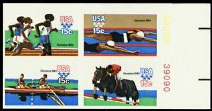 1794b, XF NH 15¢ Olympics Imperforate Block With PL# - Stuart Katz