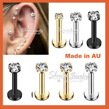 Titanium Ear Helix Tragus Cartilage Earring Lip Crystal Bar Stud Body Piercing