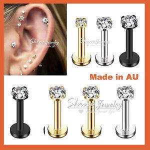 Titanium Ear Helix Tragus Cartilage Earring Lip Crystal Bar Stud Body Piercing