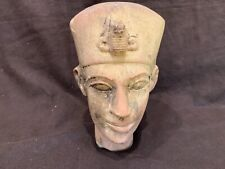 Egyptian antique stone carved bust of a pharaoh 7.25""