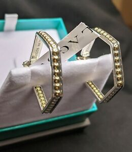 Lagos Sterling Silver & 18K Gold Inside out Caviar Hexagon Hoops