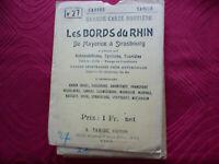 Grande carte routière Taride N° 28 bords rhin mayence a strasbourg 1915