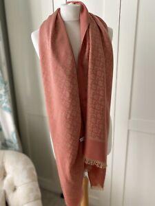 "Christian Dior Salmon Pink Fine Wool Signature Scarf / Shawl 70 "" X 30"""