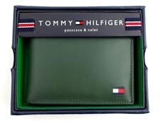 New Tommy Hilfiger Men's Dore Green Leather Id Passcase Bifold Wallet