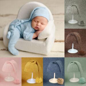 Props Knit Fur Ball Hat Newborn Photo Hat Baby Beanies Newborn Photography Hat