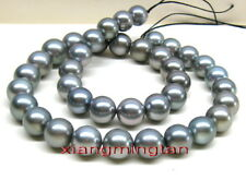 """AAAA 17""""13-15mm round Natural real south sea silver gray pearl necklace 14K GOLD"""