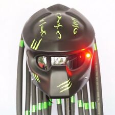 Predator Matt Black Green Open Face Motorcycle Helmet Custom Pro-Wolf Casco