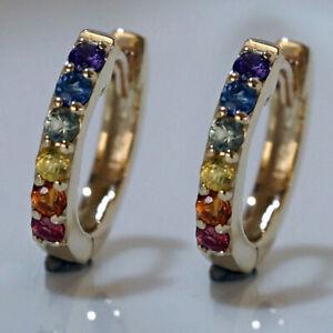 E180 Genuine 9K Yellow,White or Rose Gold Rainbow Sapphire Pride Huggie Earrings