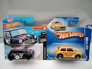 Hot Wheels / Morris Mini - Blue - Yellow - Short Card - Model Cars x2