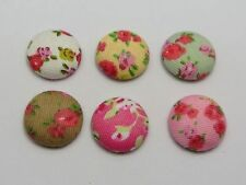 50 Mixed Color Flatback Fabric Flower Covered Buttons 15mm Round Cabochon Craft
