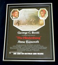 The Hindenburg Movie Framed Original 1970s Ad George C. Scott Anne Bancroft