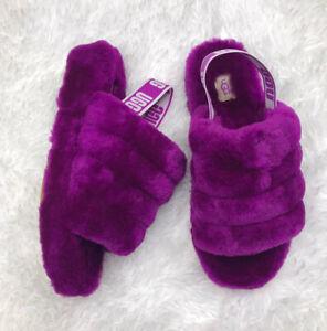 UGG Women's Fluff Yeah Slide Slipper Size 10 Purple 1095119 Berrylicious Furry