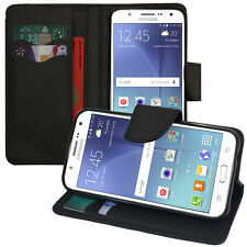 Housse Etui Portefeuille Silicone PU Effet Tissu NOIR Samsung Galaxy J5 SM-J500F