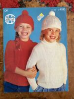 Childrens knitting patterns.jumpers.hats.size 22-24 inch chest.DK.Sirdar.cable
