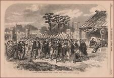 JAPANESE Soldiers Marching, antique engraving, original 1864
