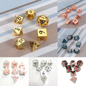 6 Types Antique Metal Polyhedral Dice DND RPG MTG Role Playing Game With Ba %