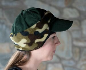 Baseball CAP Fleece EARs Forehead BAND - CAMOUFLAGE Green New earband Headband