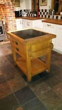 Rustic Oak Freestanding Kitchen Island Handmade Breakfast Bar double sided
