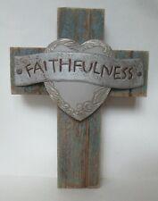 "FAITHFULNESS HEART WOOD CROSS 9"" x 12"" Wall Hanger Art Rustic Country Jesus"